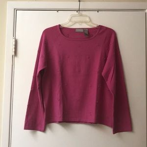 Liz Claiborne Beaded Vintage Fuchsia Sweater